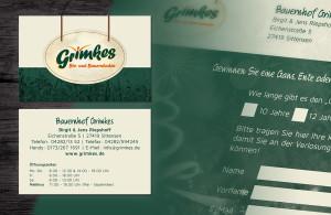 Grimkes Visitenkarte und Coupon